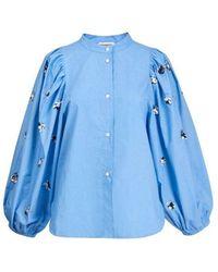 Essentiel Antwerp Zeatle Sequin Pop Shirt In Halogen - Blue