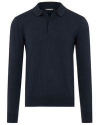 J.Lindeberg Rowan Cotton Silk Ls Polo Navy - Blue