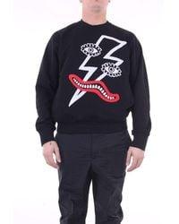 Neil Barrett - Sweatshirts Crewneck Men Black - Lyst