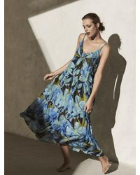 Luisa Cerano Boho Dress With Hawaii Print 738220/3255 2442 - Blue