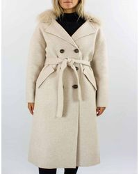 Diego M Detatchable Shearling Collar Coat - White