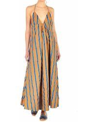 WEILI ZHENG Women's Swzdl135bv7 Beige Cotton Dress - Brown