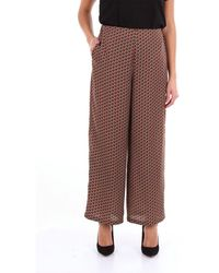Altea Two-tone Classic Patterned Pants - Brown