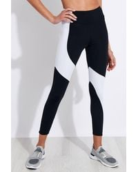 Onzie Assymetrical Block High Waisted Midi legging - Black/white Iridescent