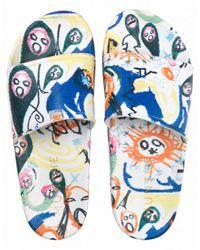 Munthe Elfreda Print Slippers - Blue
