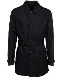 Prada Tech Fabric Short Trench Coat - Black