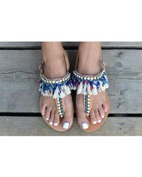 Atterley - Fringed Sandals With Crystals - Lyst