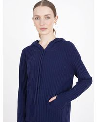 Cocoa Cashmere Essential Navy Ribbed Hoodie Jumper - Blue
