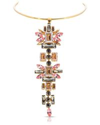 Thale Blanc Crystal Marquise Stone Necklace - Metallic