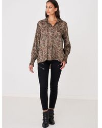 Repeat Cashmere Paisley Print Silk Blouse - Green