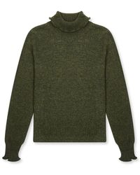 Burrows and Hare Burrows & Hare 's Roll Neck Jumper - Olive - Green