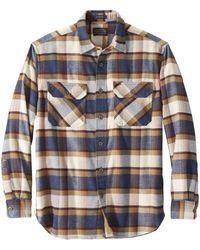 Pendleton Burnside Flannel Shirt - Blue/henna/cream Plaid - Brown