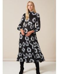 PHOEBE GRACE Betty Dress With Puffed Long Sleeve And High Neck In Blue And Black Poppy