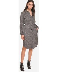8pm Dress Shirt Dress Patterned With Long Sleeves - Black
