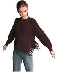 Riani Fringe Cotton Crew Knit - Brown