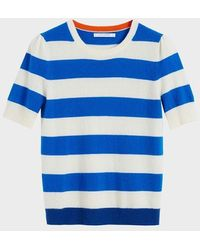 Chinti & Parker Blue Striped Jeanne Puff Sleeve T-shirt