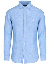 Ralph Lauren Men's 710835509001 Light Blue Linen Shirt