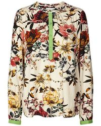 Lolly's Laundry Singh Blouse In Ecru/pink/green - Multicolour
