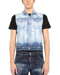 DSquared² Men's S74fb0270s30342470 Blue Other Materials Vest