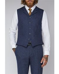 Gibson London Tweed Suit Waistcoat - Blue