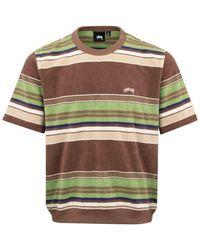 Stussy Stussy Hudson Stripe Toweling T-shirt Brown