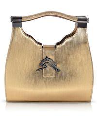 Thale Blanc Empire Cheetah Mini Hobo: Designer Shoulder Bag In Metallic Gold Embossed Leather
