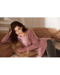 Repeat Cashmere Scoop Neck Button Detail Sweater - Pink