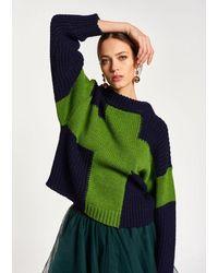 Essentiel Antwerp Antwerp - Navy And Green Wool-blend Sweater - Blue