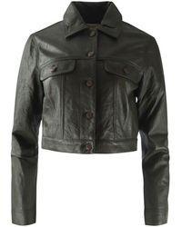 Michael Kors Leather Denim Jacket - White