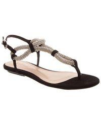 Schutz Black Suede Embellished Sandals