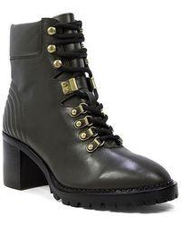 Lola Cruz Dark Green Leather Heeled Ankle Boots - Multicolor