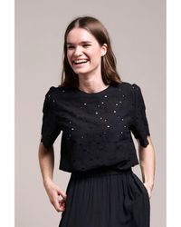 Lolly's Laundry Lollys Laundry Christina Lace Effect Blouse In Washed Black