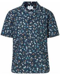 Libertine-Libertine Cave Ss Dark Navy W. Flowers Shirt   - Blue