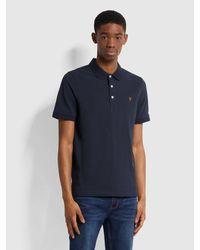 Farah Blanes Slim Fit Organic Cotton Polo Shirt - True Navy - Blue