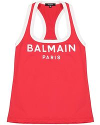 Balmain Lycra Print Sport Tank - Red