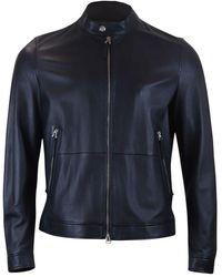 BOSS by Hugo Boss Noven Leather Jacket - Blue