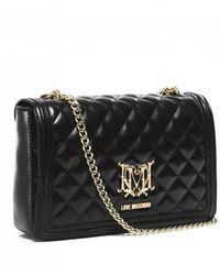 Moschino Love Quilted Logo Shoulder Bag - Black