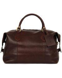 Barbour Leather Medium Travel Explorer Bag Dark Brown