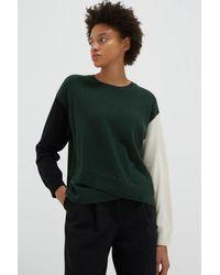 Chinti & Parker Cross Hem Sweater In Green With Black / Cream