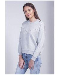 Maison Scotch Studded Sweatshirt Colour: Grey Melange