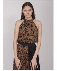 Saint Tropez Leopard High Neck Vest Colour: Dark Sand - Brown