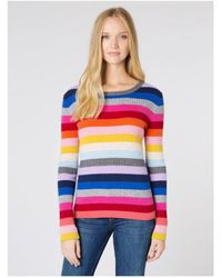 Wyse London Wyse Camille Sweater Rainbow Rib - Multicolour