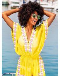 LINDSEY BROWN Manhattan Silk Designer Kaftan Top - Yellow