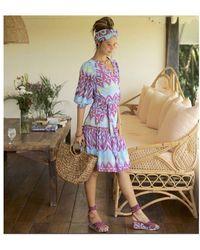 Feather & Find Marilla Wrap Dress Ikat - Purple