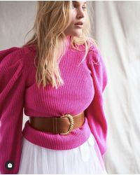 LoveShackFancy Cashmere Sweater Potter In Electric Pink