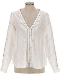 120% Lino V-neck Sequin Button Down Top - White