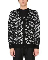 Givenchy Wool Jacquard Cardigan With All-over Refracted Logo - Black