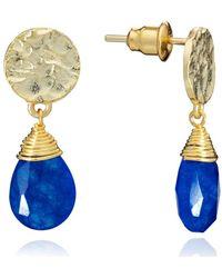 Azuni London Gold Kate Small Drop Earrings In Lapis - Metallic