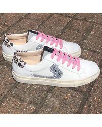 Shoe Biz Copenhagen Shoe Biz Void , Pink, Leopard, Silver Trainers , Title:whtpkleosil - White