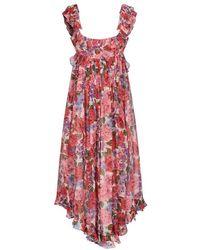 Zimmermann - Women's 9360dpopcmf Red Silk Dress - Lyst